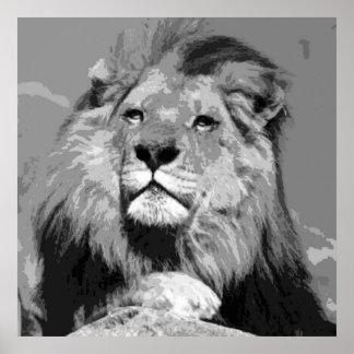 Black White Lion - Animal Photography Artwork Poster