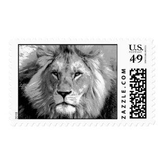 Black & White Lion Artwork Postage
