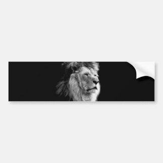 Black White Lion Bumper Sticker