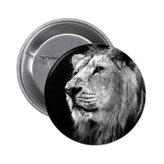 Black & White Lion 2 Inch Round Button