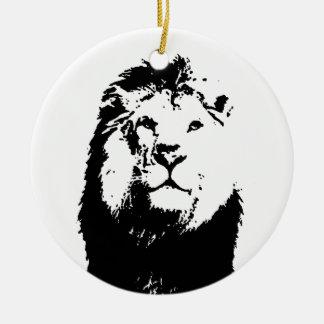 Black & White Lion Ceramic Ornament