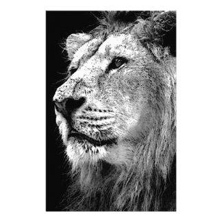 Black & White Lion Customized Stationery