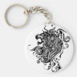 Black & White Lion Head Tattoo Style Keychain
