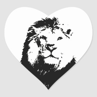 Black & White Lion Heart Sticker