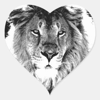 Black & White Lion Heart Sticker
