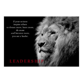 Black White Lion Inspirational Leadership Poster