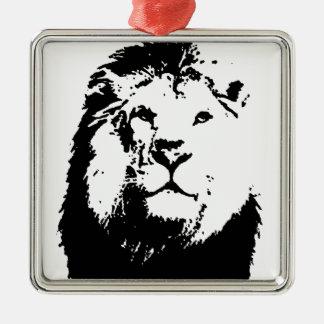 Black & White Lion Metal Ornament