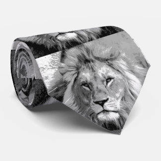Black White Lion Neck Tie
