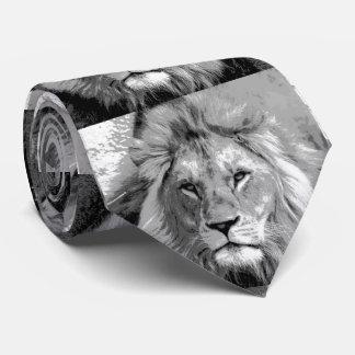 Black White Lion Neck Tie