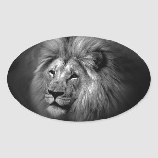 Black & White Lion Oval Sticker