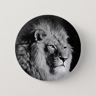 Black & White Lion Photo Pinback Button