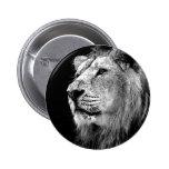 Black & White Lion Pinback Button