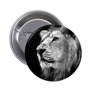 Black & White Lion Pinback Button