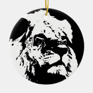 Black & white lion pop art ceramic ornament
