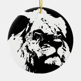 Black & white lion pop art ceramic ornament