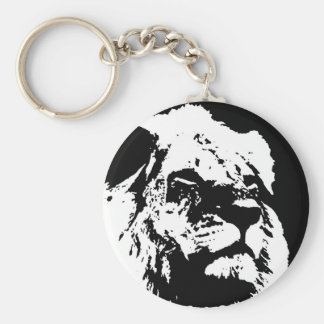 Black & white lion pop art keychain