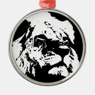 Black & white lion pop art metal ornament