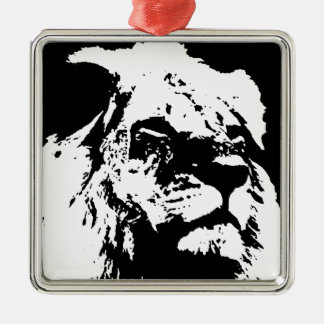 Black & white lion pop art metal ornament