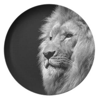Black White Lion Portrait - Animal Photography Melamine Plate