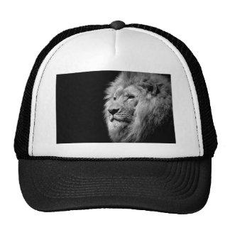 Black White Lion Portrait - Animal Photography Trucker Hat