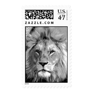 Black & White Lion Postage