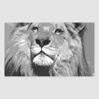 Black & White Lion Rectangular Sticker