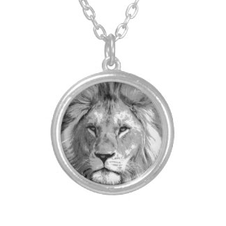 Black White Lion Silver Plated Necklace