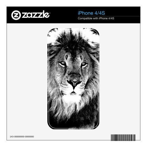 Black & White Lion Skins For The iPhone 4S