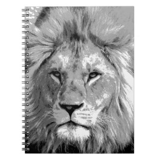 Black White Lion Spiral Notebook