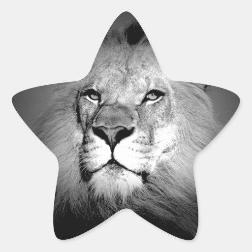 Black & White Lion Star Sticker
