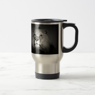 Black & White Lion Travel Mug