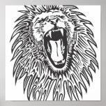 black-white-lion-vector poster