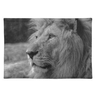 Black & White Lion - Wild Animal Cloth Placemat