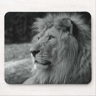 Black & White Lion - Wild Animal Mouse Pad