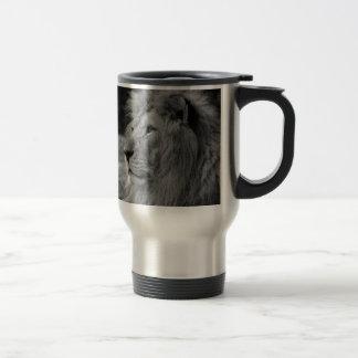 Black & White Lion - Wild Animal Travel Mug