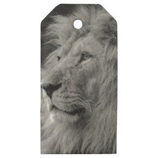 Black & White Lion - Wild Animal Wooden Gift Tags