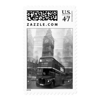 Black White London Bus Big Ben Postage