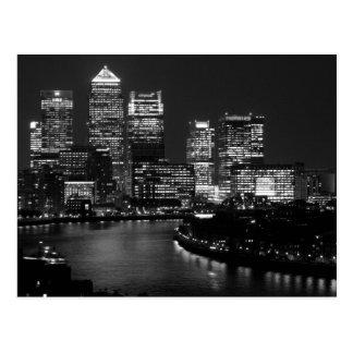 Black White London City Night UK British Travel Postcard