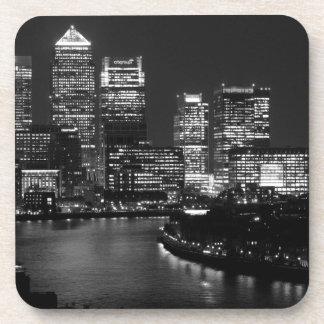 Black White London City Night UK Travel Beverage Coaster