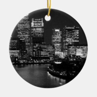 Black White London City Night UK Travel Ceramic Ornament