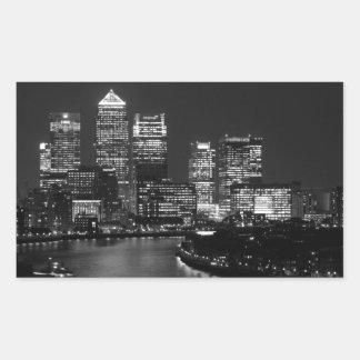 Black White London City Night UK Travel Rectangular Sticker