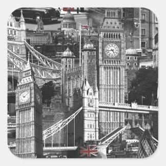 black & white london city streets tourist design square sticker