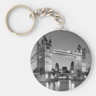 Black White London Tower Bridge Basic Round Button Keychain