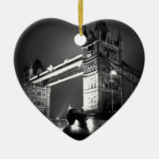 Black & White London Tower Bridge Ceramic Ornament