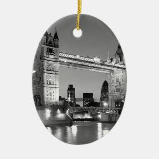 Black White London Tower Bridge Ceramic Ornament