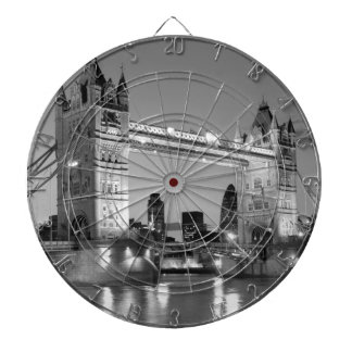 Black White London Tower Bridge Dartboard With Darts