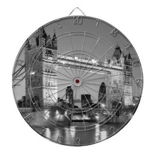 Black White London Tower Bridge Dartboard With Darts