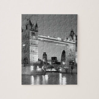 Black White London Tower Bridge Jigsaw Puzzle