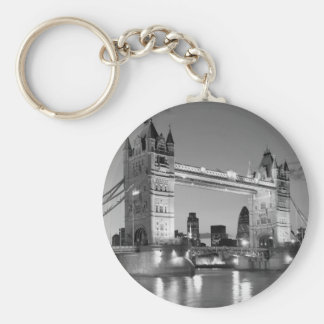 Black White London Tower Bridge Keychain
