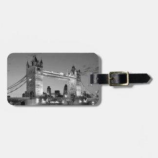 Black White London Tower Bridge Luggage Tag